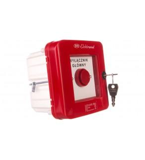 Wyłącznik alarmowy z zamkiem 2Z 12A /WYŁĄCZNIK GŁÓWNY/ IP55 WGZp-2s 921541