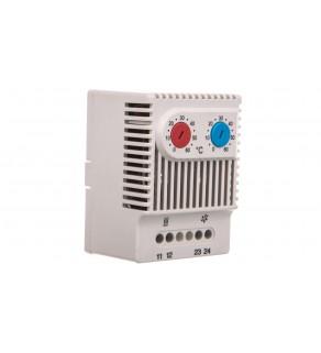Termostat dwufunkcyjny do sterowania pracą grzałki / wentylatora NC/NO 230VAC zakres 0-60 stopni C 230VAC JWT6012