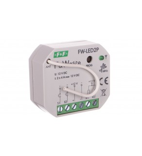 Radiowy dwukanałowy sterownik LED 12V - montaż p/t 10-16V DC FW-LED2P