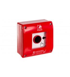 Ręczny ostrzegacz przeciwpożarowy natynkowy, styk 1Z+LED 230V AC OP1-W01-B10-230