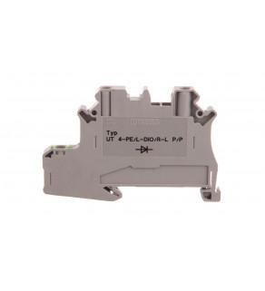 Złączka szynowa elementów kontrolnych 2-przewodowa 4mm2 szara UT 4-PE/L-DIO/R-L P/P 3046235 /50szt.