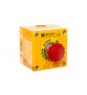 """Kaseta sterownicza przycisk grzybkowy (B) bezpieczeństwa ryglującym sie samoczynnie ENERGIA STOP SP22K1""""08-1"""