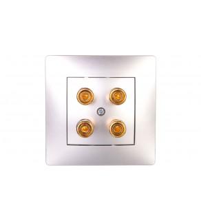 VOLANTE Gniazdo głośnikowe podwójne srebrny 2658-06