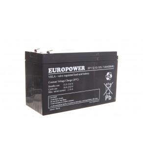 Akumulator bezobsługowy AGM 7,2Ah 12V Europower EP 7,2-12