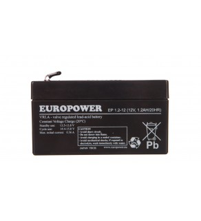 Akumulator bezobsługowy AGM 1,2Ah 12V Europower EP 1,2-12