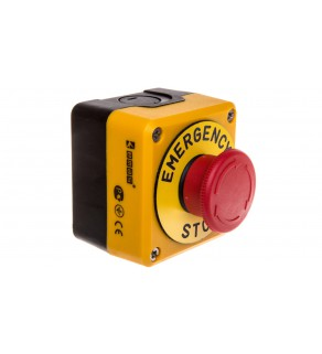 Kaseta z przyciskiem bezpieczeństwa przez obrót 1R czarno-żółta Emergency Sop IP65 T0-P1EC400E40-K