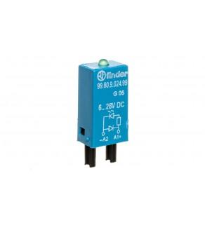 Moduł sygnalizacyjny LED zielony + dioda gaszeniowa 6-24V DC polaryzacja A1+ 99.80.9.024.99