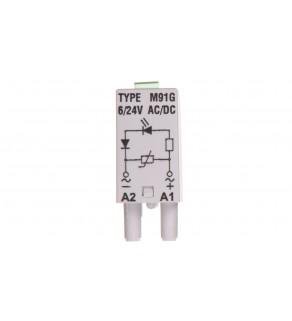 Moduł sygnalizacyjny LV (dioda LED zielony + warystor V) 6-24 V AC/DC M91G szary 854856
