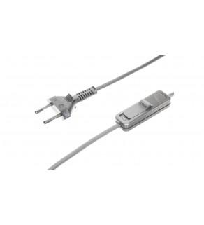 Sznur przyłączeniowy z wyłącznikiem SP/W-190cm srebrny SP/W-190/2X0,5/-SRB YNS10000502