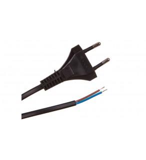 Przewód z płaską wtyczką b/u H03VVH2-F 2x0,5 czarny S-13-0,5-2-2 /2m