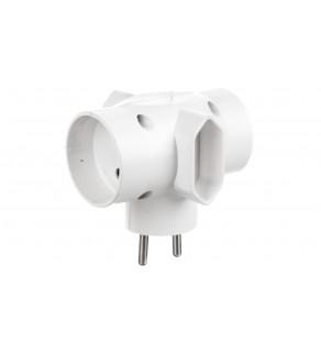 Rozgałeźnik wtyczkowy 2x2P +2xEuro biały R-45