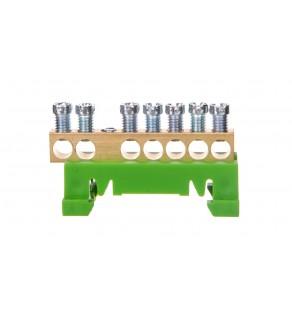 Zacisk przyłączeniowy na TS35, ochronny PE, 7-polowy, 7x16mm2 870S/7 zielony 89811005