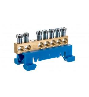 Zacisk przyłączeniowy na TS35, neutralny N, 7-polowy, 7x16mm2 870N/7 niebieski 89810003