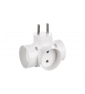 Rozgałeźnik wtyczkowy 3x2P biały R-30