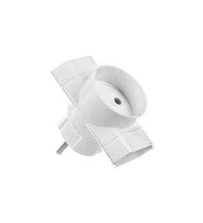 Rogałęźnik wtyczkowy 2xEuro + 1x2P biały R-1
