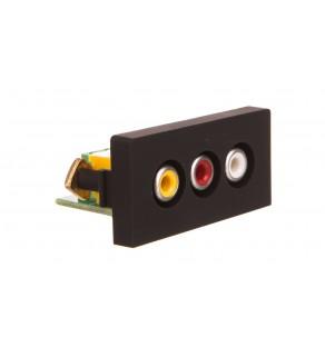 TouchMe Moduł 1/2 gniazdo audio i video czarne TM908B
