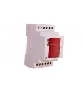 Woltomierz 3-fazowy cyfrowy modułowy 100-300V AC dokładność 0,5 DMV-3RMS