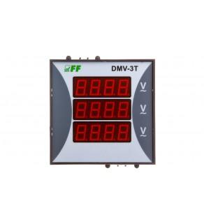 Woltomierz 3-fazowy cyfrowy modułowy 100-300V AC dokładność 0,5 TrueRMS DMV-3T