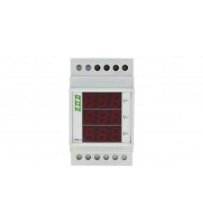 Woltomierz 3-fazowy cyfrowy modułowy 100-300V AC dokładność 1 DMV-3