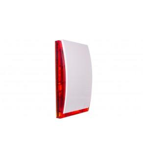 Sygnalizator optyczno-akustyczny, zewnętrzny, czerwone światło LED, z akumulatorem i metalową osłoną SP-4006 R