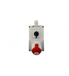 Zestaw instalacyjny z gniazdem 16A 5P (L-0-P) czerwony ZI02R221