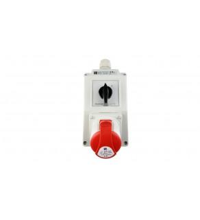 Zestaw instalacyjny z gniazdem 32A 4P (0-1) czerwony ZI02R341