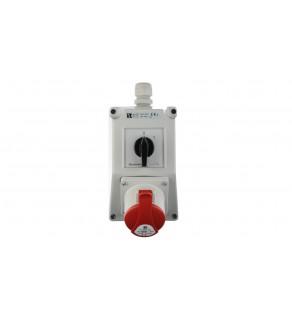 Zestaw instalacyjny z gniazdem 16A 5P (0-1) czerwony ZI02R211