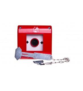 Przycisk przeciwpożarowy natynkowy 1Z czerwony z młotkiem OP1-W01-A10-M