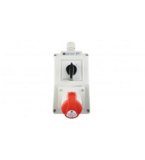 Zestaw instalacyjny z gniazdem 16A 4P (0-1) czerwony ZI02R111