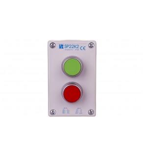 """Kaseta sterownicza 2-otworowa z przyciskami zielony/czerwony szara IP65 SP22K2""""01-1"""