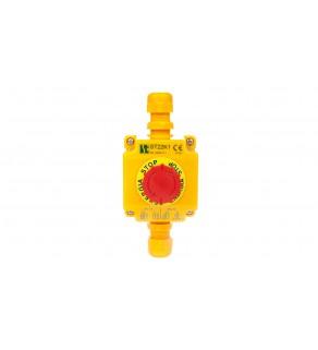 Kaseta z przyciskiem bezpieczeństwa przez obrót 1R IP65 żółta 2x dławnica M20 ST22K105-2