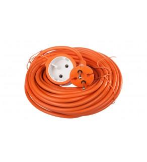 Przedłużacz ogrodowy 1-gniazdo b/u 15m /H05VV-F 2x1/ pomarańczowy P01315