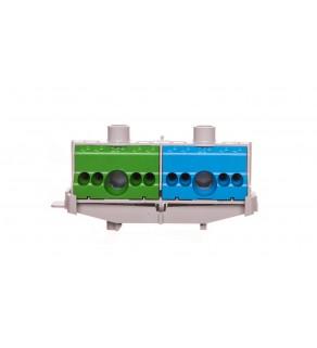 Listwa zaciskowa PE i N na szynę 80 A 2x(1x25mm + 4x4mm2) niebiesko-zielona FC PN 10 26001206