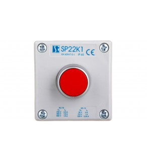 """Kaseta sterownicza 1-otworowa czerwony 1R szara IP65 1x membrana M20 SP22K1""""02-1"""