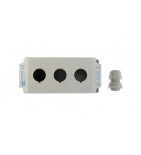 Obudowa kasety 3-otworowa 22mm szara IP65 ST22K300