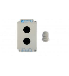 Obudowa kasety 2-otworowa 22mm szara IP65 ST22K200