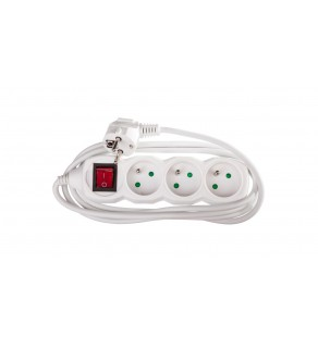 Przedłużacz z wyłącznikiem 3-gniazda z/u 2m /H05VV-F 3G1/ biały P1312
