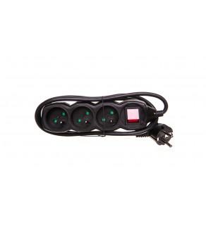 Przedłużacz z wyłącznikiem 3-gniazda z/u 1,5m /H05VV-F 3G1/ czarny PC1311