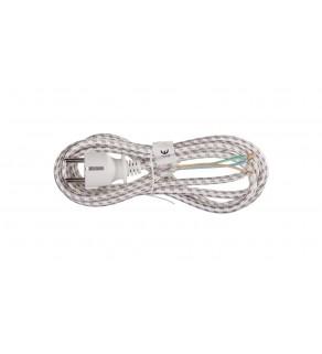 Przewód w oplocie do żelazka 3x0,75 2,4m bialo-szary S00003