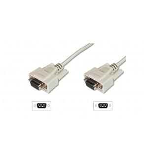 Kabel połączeniowy RS232 1:1 Typ DSUB9/DSUB9, Ż/Ż beżowy 5m AK-610106-050-E