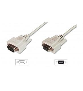Kabel przedłużający RS232 1:1 Typ DSUB9/DSUB9, M/Ż beżowy 5m AK-610203-050-E