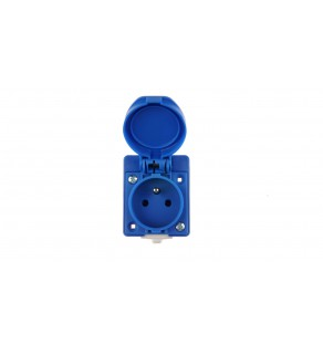 Gniazdo tablicowe 10/16A 2P+Z 230V IP54 niebieskie /z puszką/ 104-0hp