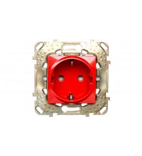 Unica Plus Gniazdo pojedyncze z/u SCHUKO czerwone MGU50.037.03Z