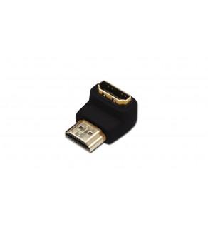 Adapter HDMI Highspeed 2.0 z Eth. kątowy Typ HDMI A/HDMI A, M/Ż czarny AK-330502-000-S AK-330502-000-S