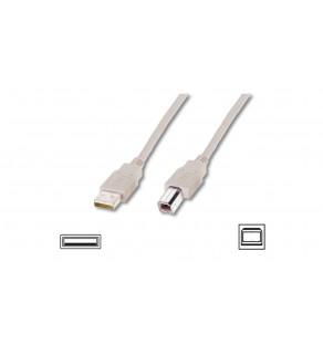 Kabel połączeniowy USB 2.0 Typ USB A/USB B, M/M beżowy 3m AK-300102-030-E