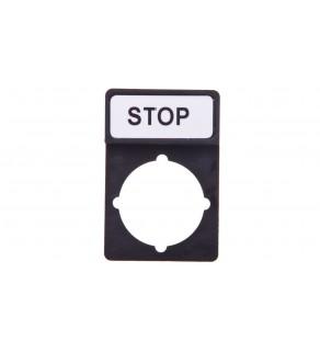 Tabliczka opisowa STOP 44x30mm czarna prostokątna ST22-1901P03