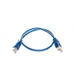Kabel krosowy patchcord U/UTP kat.5E niebieski 0,5m