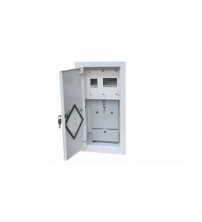 Rozdzielnia podtynkowa metalowa 1 X TL 1F na licznik elektroniczny + 6 zabezpieczeń zamek okienko RAL 9003A-RW6E