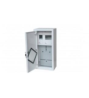 Rozdzielnica licznikowa metalowa 1x1F na licznik elektroniczny + 6 zabezpieczeń zamek okienko RAL 9003A-RZ9E