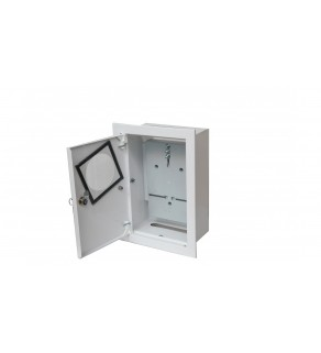 Rozdzielnica podtynkowa metalowa 1x1F na licznik elektroniczny zamek okienko RAL 9003 A-RW18E